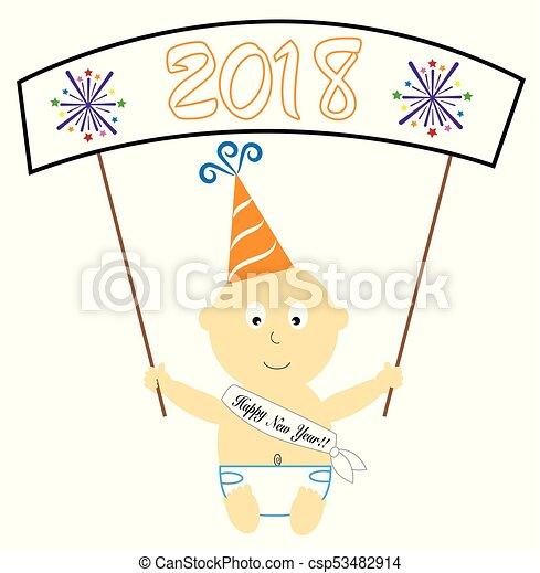 Happy New Year Baby Banner - csp53482914
