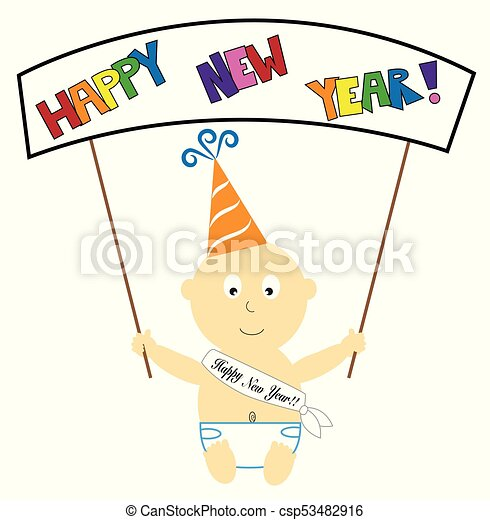 Happy New Year Baby Banner - csp53482916