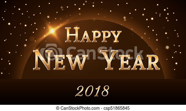 happy new year background gold 2018 csp51865845
