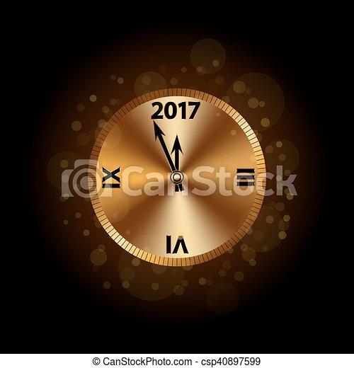 happy new year background gold clock csp40897599