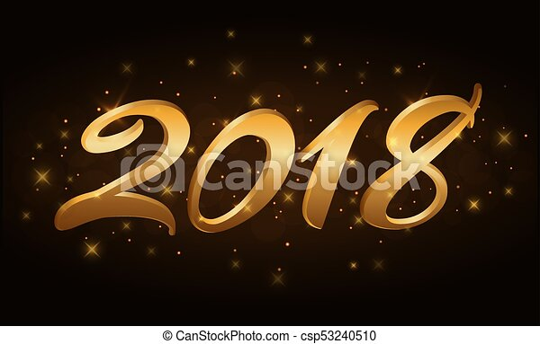 happy new year background gold numbers 2018 for card christmas design with light sparkle