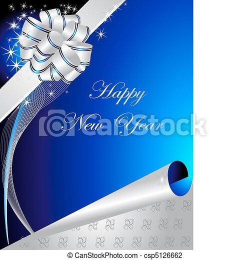 happy new year background with ribbon