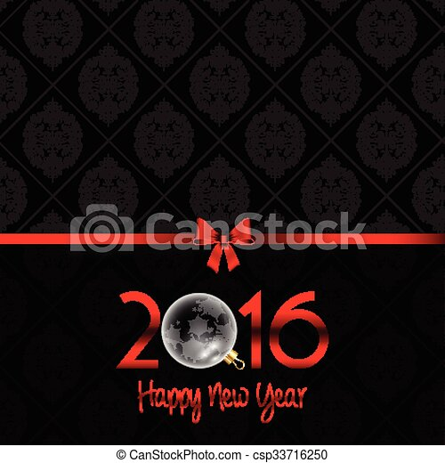 happy new year background with damask pattern 0311 csp33716250