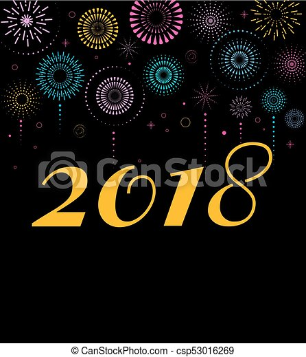 happy new year banner poster with fireworks csp53016269