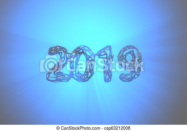Happy New Year Banner with 2019 Numbers made by metal gold wire isolated on blue Background with godrays light in fog, mist or smoke. abstract 3d illustration - csp63212008