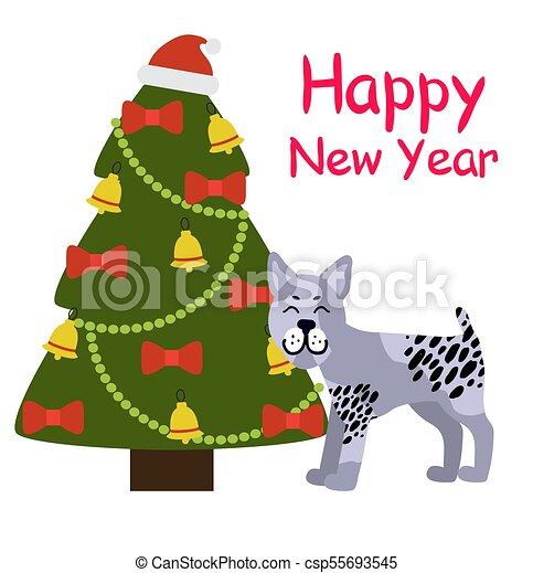 happy new year banner with grey dog near xmas tree csp55693545