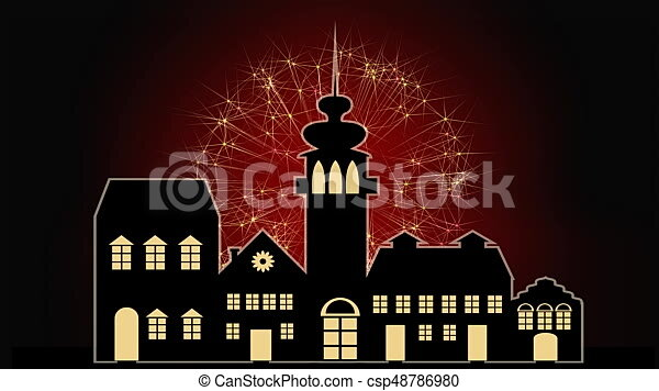 happy new year banner with old town silhouette and red firework on background headline changing colors fullhd video 1920x1080