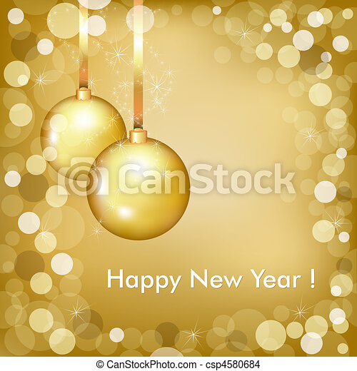 Happy New Year Beautiful Gold Design - csp4580684