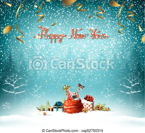 Happy New Year calligraphic red insption. Bue forest on the Holiday background. - csp52750314