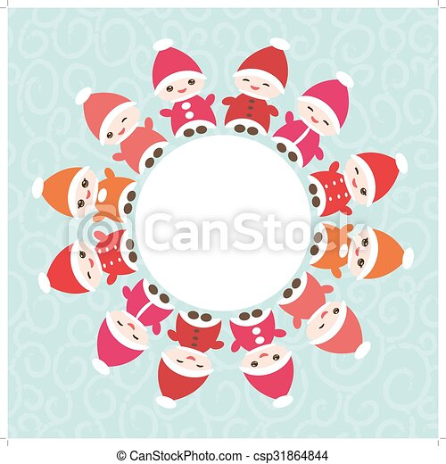 Happy new year card for your text round frame. funny gnomes in red ...