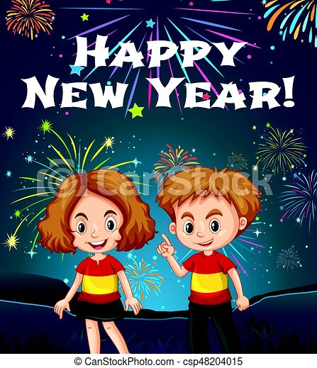 happy new year card template with kids and fireworks csp48204015