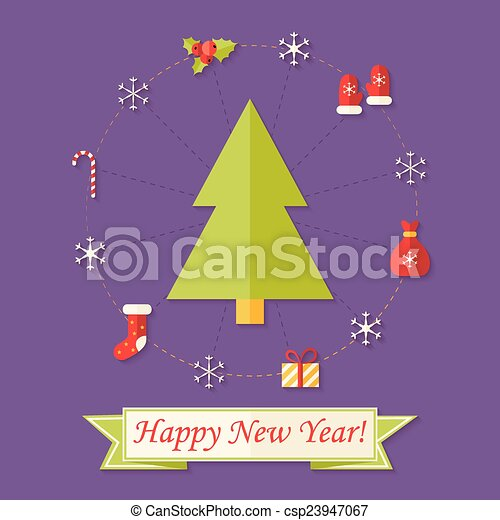 happy new year card with christmas tree over purple csp23947067