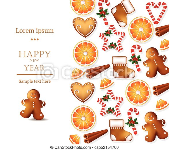 Happy new year card with gingerbread cookies vector. holidays ...