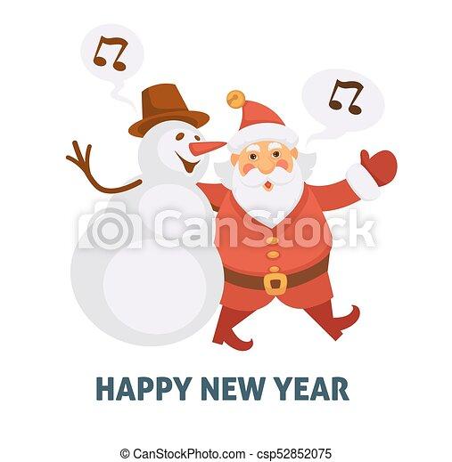 happy new year cartoon santa and snowman singing christmas song vector greeting card icon - Snowman Santa