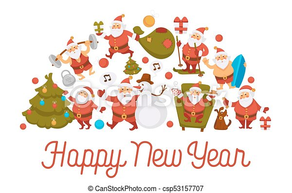 Happy New Year Cartoon Santa Celebrating Holidays Or Having Leisure Summer  Fun Icons For Greeting Card