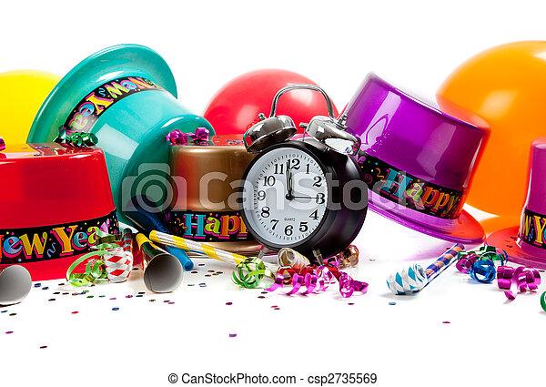 Happy New year celebration supplies on white - csp2735569