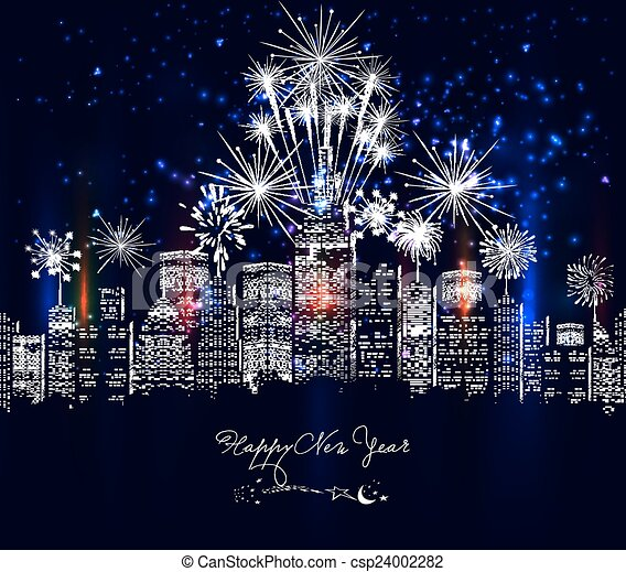 happy new year city colourful with fireworks