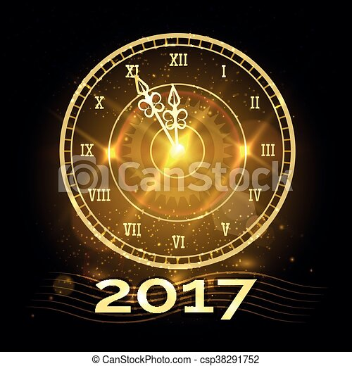 happy new year clock csp38291752