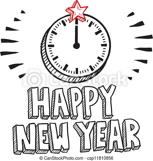 Happy new year clock sketch. Doodle style happy new year sketch with ...