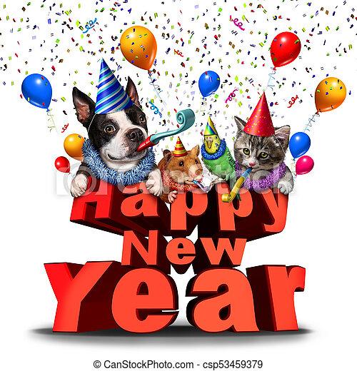 happy new year cute animals csp53459379