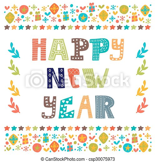 happy new year cute greeting card csp30075973