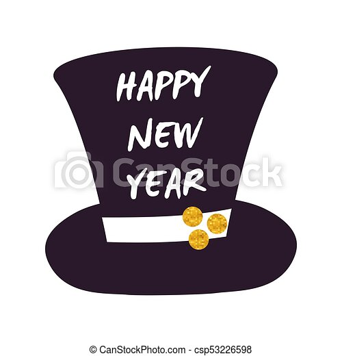Happy New Year Cylinder Hat Vector Illustration Happy New Year Cylinder Hat Icon Isolated On White Background Vector