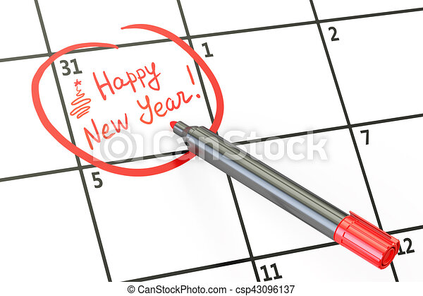 Happy New Year date on calendar concept, 3D rendering - csp43096137