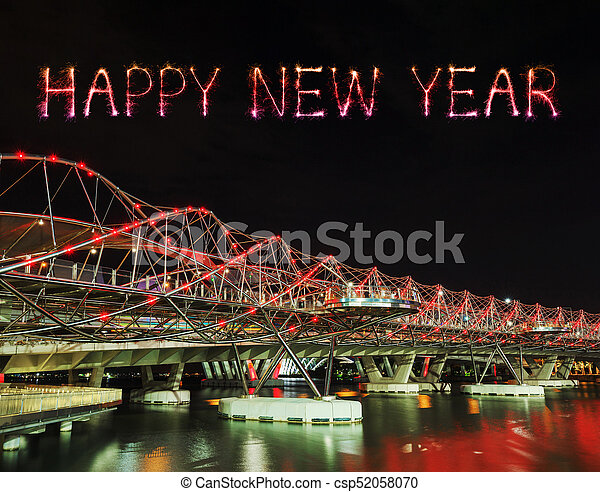 happy new year firework sparkle with helix bridge in singapore csp52058070