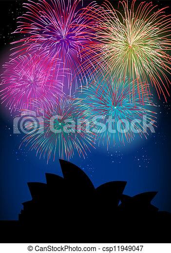 Happy New Year fireworks Australia landmark - csp11949047