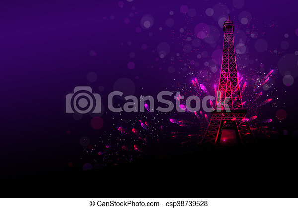 happy new year fireworks in paris csp38739528