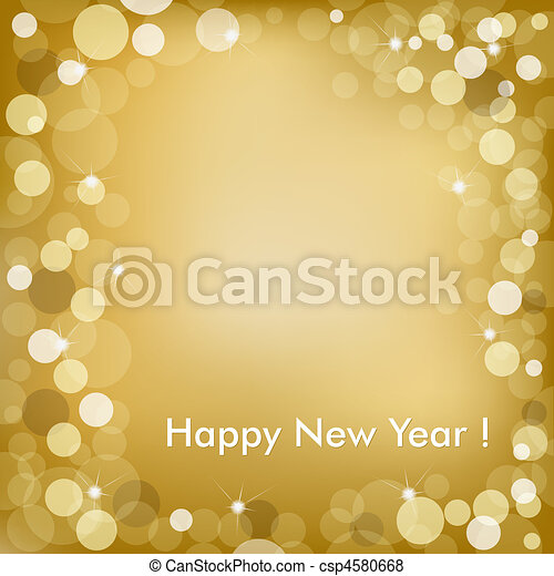 Happy New Year Golden Vector Background - csp4580668