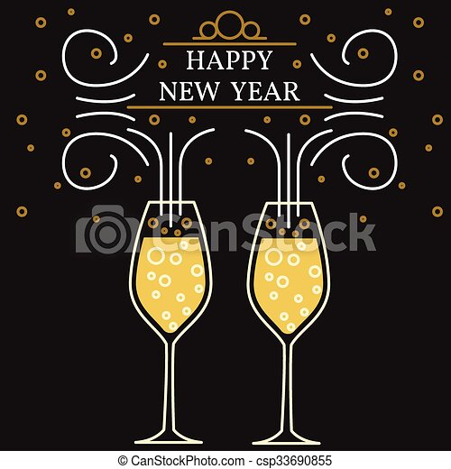 happy new year greeting card eps10 vector champagne glasses thin line