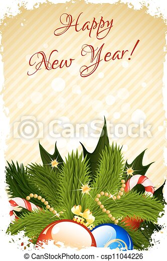 Grunge Happy New Year Greeting Card With Decoration