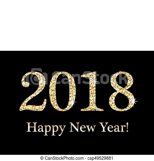 happy new year greeting card template for your design 2018 inscription from a gold glitter