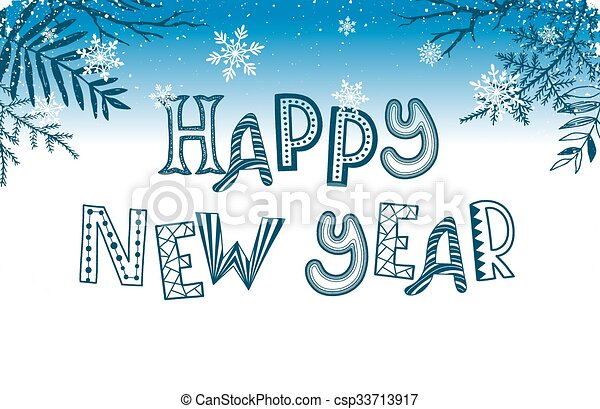 Happy new year greeting card. Happy ney year postcard template ...
