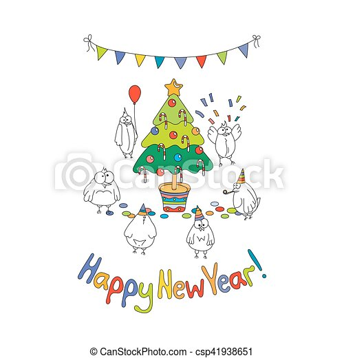 Happy New Year Greeting Card With Cartoon Funny Birds Hand Draw Vector Illustration Bright Colors