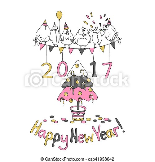 Happy new year greeting card with cartoon funny birds. hand draw ...
