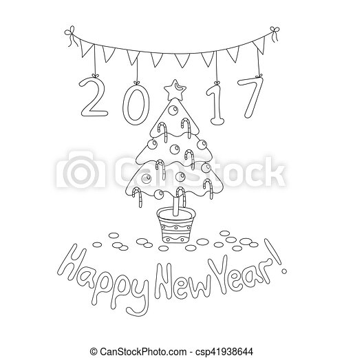 Happy New Year Greeting Card With Spruce Coloring Book Page Coloring Book Page Happy New Year Greeting Card With Spruce Canstock