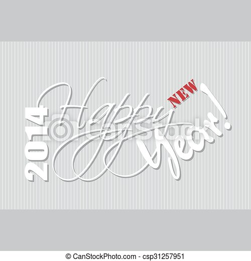 Happy new year hand lettering. - csp31257951