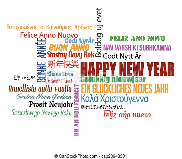 Happy new year in different language. words cloud on white ...