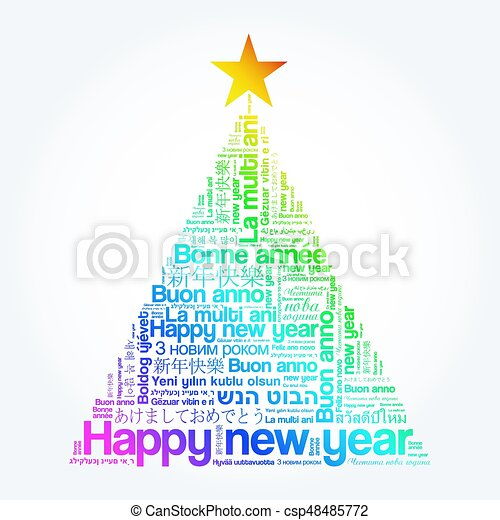 Happy new year in different languages, celebration word cloud ...