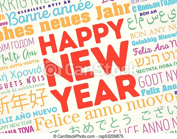 Happy new year in different languages celebration word cloud happy new year in different languages csp53209875 m4hsunfo