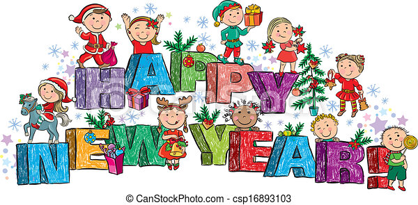 happy new year kids on the letters csp16893103