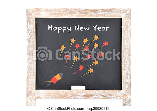 Happy New Year on blackboard - csp39930818