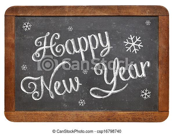 Happy New Year on blackboard - csp16798740