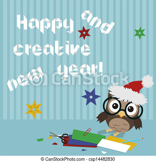 Happy new year owl/creative illustration of little owl ...