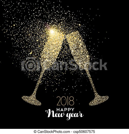 happy new year party drink gold glitter dust card csp50607575