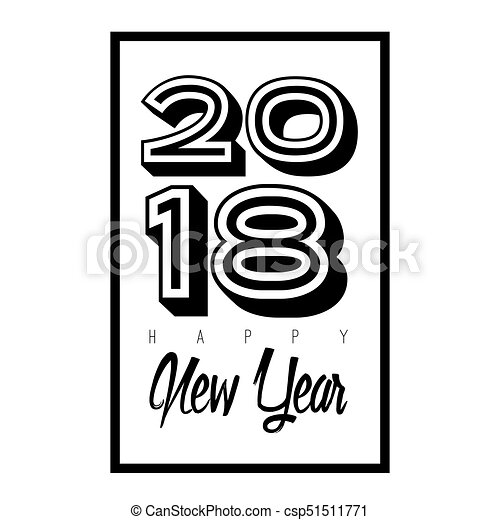 Happy new year poster with text, vector illustration.