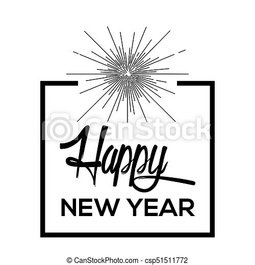 Happy new year poster with fireworks, vector illustration.