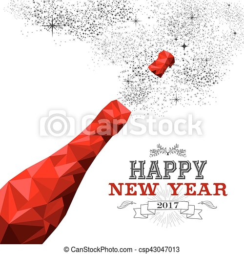happy new year red champagne bottle low poly csp43047013